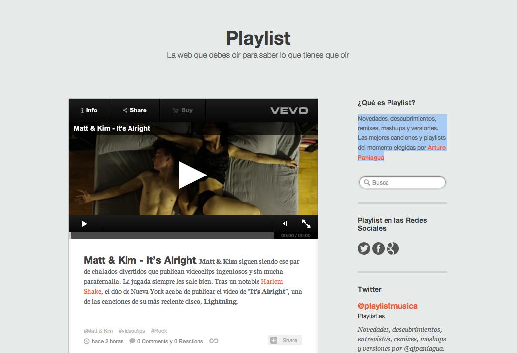 Playlist.es, mi nueva aventura en el periodismo musical